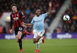 Bournemouth's Jack Simpson (left) and Manchester City's Raheem Sterling battle for the ball during the Premier League match at the Vitality Stadium, Bournemouth.