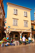 Fruit shop in Corfu Old Town, Greek Ionian Islands .<br /> <br /> If you prefer to buy from our ALAMY PHOTO LIBRARY  Collection visit : https://www.alamy.com/portfolio/paul-williams-funkystock/corfugreece.html <br /> <br /> Visit our GREECE PHOTO COLLECTIONS for more photos to download or buy as wall art prints https://funkystock.photoshelter.com/gallery-collection/Pictures-Images-of-Greece-Photos-of-Greek-Historic-Landmark-Sites/C0000w6e8OkknEb8