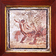 1 cent AD Roman Erotic  Mythical fresco  from a house in Pompeii. Naples Archaological Museum  inv no: 27697 .<br /> <br /> If you prefer to buy from our ALAMY PHOTO LIBRARY  Collection visit : https://www.alamy.com/portfolio/paul-williams-funkystock - Scroll down and type - Roman Art Erotic  - into LOWER search box. {TIP - Refine search by adding a background colour as well}.<br /> <br /> Visit our ROMAN ART & HISTORIC SITES PHOTO COLLECTIONS for more photos to download or buy as wall art prints https://funkystock.photoshelter.com/gallery-collection/The-Romans-Art-Artefacts-Antiquities-Historic-Sites-Pictures-Images/C0000r2uLJJo9_s0
