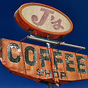 J's Coffee Shop Sign Northbound View - Delano, CA - Highway 99 - HDR