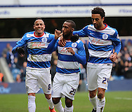 Queens Park Rangers midfielder, (David Hoilett) Junior Hoilett (23) celebrating scoring penalty and second goal during the Sky Bet Championship match between Queens Park Rangers and Birmingham City at the Loftus Road Stadium, London, England on 27 February 2016. Photo by Matthew Redman.