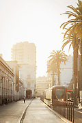 Architecture, palm trees and new tramway running along Boulevard Mohammed V, Casablanca, Morocco