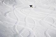 """SHOT 1/25/16 9:47:28 AM - A snowboarder carves through fresh powder at Brighton Ski Resort. Brighton is a ski area located in Big Cottonwood Canyon, 30 miles (48 km) from downtown Salt Lake City, Utah. Brighton Ski Resort was the first ski resort in Utah, and one of the first in the United States. Brighton was started in 1936 when members of the Alpine Ski Club built a rope tow from wire and an old elevator motor. Brighton claims to be a """"no-frills"""" resort whose sole business is to provide skiers and snowboarders with top-notch trails. Brighton is also known for its extensive backcountry access, visitors can purchase single ride lift tickets to reach the backcountry access gates at the top of the resort. Although the terrain inbounds at Brighton can rival that of the backcountry, Brighton is known for its cliffs, chutes, bowls and natural features. (Photo by Marc Piscotty / © 2016)"""
