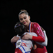 McKayla Maroney, (right) and Simone Biles hug during presentation at the Senior Women Competition at The 2013 P&G Gymnastics Championships, USA Gymnastics' National Championships at the XL, Centre, Hartford, Connecticut, USA. 17th August 2013. Photo Tim Clayton