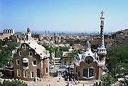 Spanje, Barcelona, 27-5-2007..Uitzicht over de stad van Antonio Gaudi. Ingang van Parc Guell...Foto: Flip Franssen