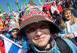 Young fans at Flying Hill Individual in last 4th day of 32nd World Cup Competition of FIS World Cup Ski Jumping Final in Planica, Slovenia, on March 22, 2009. (Photo by Vid Ponikvar / Sportida)