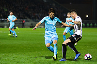Hiroki Sakai of Marseille and Pierrick Capelle of Angers during the Ligue 1 match between Angers and Marseille at Stade Jean Bouin on December 22, 2018 in Angers, France. (Photo by Eddy Lemaistre/Icon Sport)