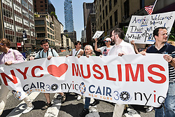 Approximately 300 people participated for NY loves Muslims demonstration and march at City Hall Park in Manhattan, NY on Saturday June 10, 2017<br /> <br /> 6/10/2017<br /> Manhattan, NY<br /> <br /> Go Nakamura/ZUMA Press