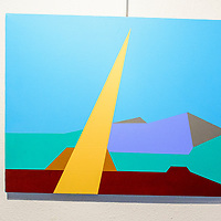 """""""Ray of Light After Rain"""" by Robert Gallegos depicts a beam of light ahead of Mount Taylor on a wall at the Double Six gallery in Grants Tuesday.  This is the 13th year of the Mount Taylor theme exhibit."""