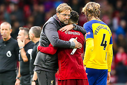 Liverpool manager Jurgen Klopp celebrates victory over Southampton with Roberto Firmino of Liverpool - Mandatory by-line: Robbie Stephenson/JMP - 22/09/2018 - FOOTBALL - Anfield - Liverpool, England - Liverpool v Southampton - Premier League