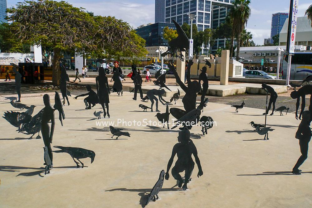 Exterior of the Tel Aviv Museum of Arts. installation sculpture by ZADOK BEN-DAVID. Golda Meir Cultural Center in Tel Aviv, Israel