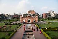Dhaka, Bangladesh - November 1, 2017: People visit the 17th-century mausoleum of Bibi Pari in Lalbagh fort in Dhaka, Bangladesh.