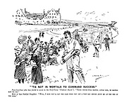 """""""'Tis Not in Mortals to Command Success."""" Paterfamilias (who has failed to score in the Half-Term """"Fathers' Match""""). """"These things will happen, little girl, no matter how we try."""" More or less dutiful daughter, """"Well, I hope you'll say the same when you get a very bad report about me at the end of the term."""""""