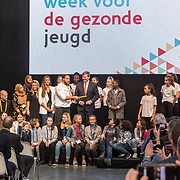 NLD/Utrecht/20190308  - Willem-Alexander geeft het startsein vd 'Week voor de Gezonde Jeugd', De koning neemt het stokje over voor de officieele opening