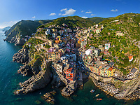 Panoramic aerial view of Riomaggiore, Italy