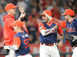 August 26, 2017 - Anaheim, CA, USA - The Angels celebrate their victory over Houston Saturday...The Angels were playing the Houston Astros.in Anaheim, CA on Saturday, August  26, 2017. (Credit Image: © Bill Alkofer/The Orange County Register via ZUMA Wire)