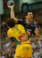 Håndball,<br /> Handball Champions League Finale <br /> Flensburg Handewitt - Pivovarna Celje<br /> v.l. Siarhej Rutenka, Andrej Klimovets<br /> Foto: Digitalsport