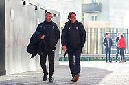 Brentford B Team Head Coach Neil MacFarlane and Brentford manager Thomas Frank arrive at the Brentford Community Stadium before the EFL Sky Bet Championship match between Brentford and Middlesbrough at Brentford Community Stadium, Brentford, England on 7 November 2020.