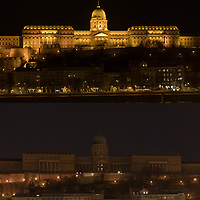 Combination image shows Budapest landmark the Castle of Buda seen with decoration lights turned on and off during Earth Hour in downtown Budapest, Hungary on March 28, 2020. ATTILA VOLGYI