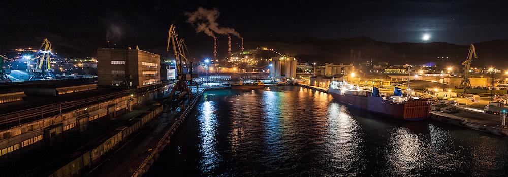 Industrial scene. A night panorama of the Russian Black Sea port of Novorossiysk