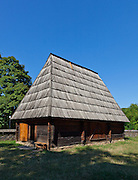 """Wooden vernacular shed and stable built by """"Pasco of the Salaje"""" (county Salaj) in 1775. Dimitrie Gusti National Village Museum (Muzeul Satului) in Bucharest, Romania"""