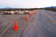 Road work deep inside Joshua Tree National Park , CA.