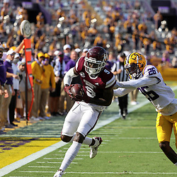Sep 26, 2020; Baton Rouge, Louisiana, USA; Mississippi State Bulldogs wide receiver Tyrell Shavers (9) scores against the LSU Tigers during the first half at Tiger Stadium. Mandatory Credit: Derick E. Hingle-USA TODAY Sports