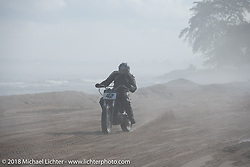 Jamie Ulinski on his 1999 Harley-Davidson Sportster at the Bradford Beach Brawl, a TROG style beach racing event, during the Harley-Davidson 115th Anniversary Celebration event. Milwaukee, WI. USA. Saturday September 1, 2018. Photography ©2018 Michael Lichter.