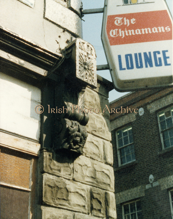 Old Dublin, amateur photos, May, 1983, with, Sandymount Green, Shops, Camden St, Crazy House Corner, Dawson Court, sth, south, The Chinaman, mouldings, Train Workers Dwellings Sandymount, St Dolours Malahide,