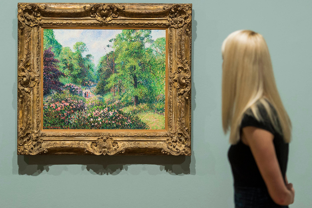 Kew Green, Rhododendron Dell, 1892 by Camille Pissarro - The EY Exhibition: Impressionists in London, French Artists in Exile (1870-1904) at Tate Britain. It brings together over 100 works by Impressionist artists in the first large-scale exhibition to chart the stories of French artists who sought refuge in Britain during the Franco-Prussian War. The exhibition runs from 2 November 2017 – 29 April 2018. London, UK 30 Oct 2017.