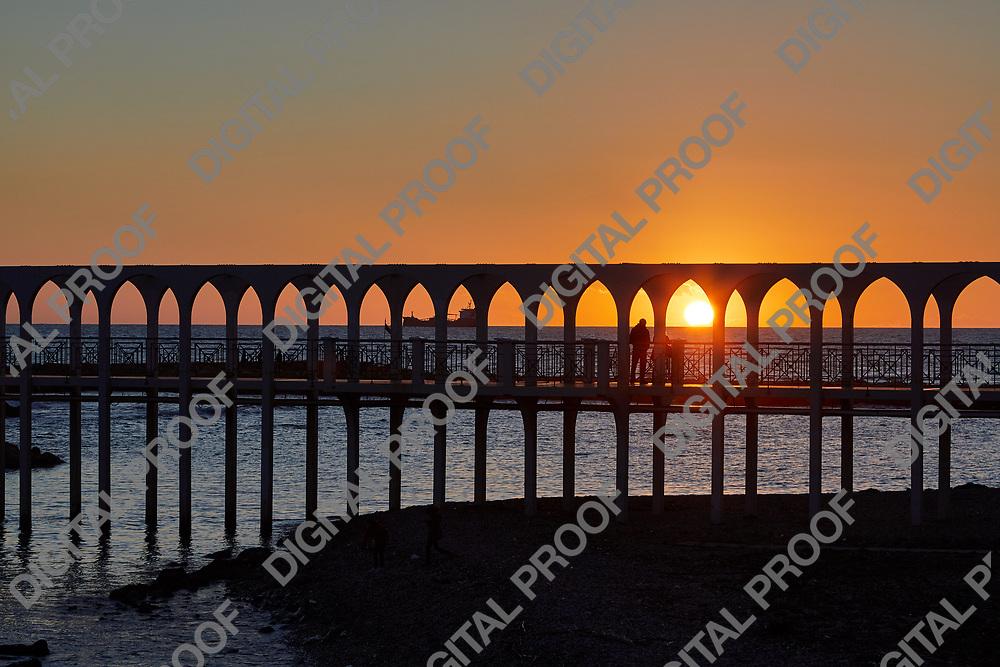 Beach sunset in Civitavecchia