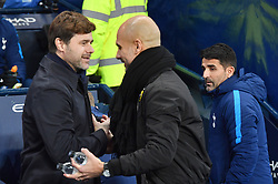 Tottenham Hotspur manager Mauricio Pochettino shakes hands with Manchester United manager Jose Mourinho prior to kick off
