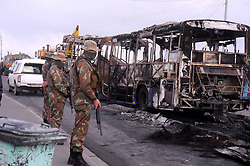 South Africa - Cape Town - 20 June 2020 Myciti bus set alight in Dunoon this morning, The City of Cape Town says a MyCiti bus has been set alight in Du Noon near Milnerton, protestors  burning tyres in the area forcing road closures. The affected routes include a section of Potsdam Road, between Sati and Malibongwe Road.Photographer: Ayanda Ndamane/African News Agency(ANA)