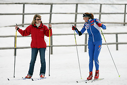 Slovenian cross-country skier Petra Majdic teaches her friend to ski  at Alpina presentation of new cross-country shoes with red dot award: product design, on April 24, 2008, in Pokljuka, Rudno polje, Slovenia.  (Photo by Vid Ponikvar / Sportal Images)/ Sportida)