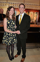 Writer NATHAN FILER winner of the Costa First Novel Award and winner of the Costa Book of the Year Award with his wife EMILY FILER at the Costa Book Awards 2013 held at Quaglino's, 16 Bury Street, London on 28th January 2014.