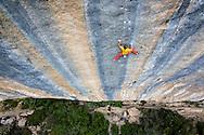 Alex Megos climbing Biographie, 5.15a, in Ceuse, FR.