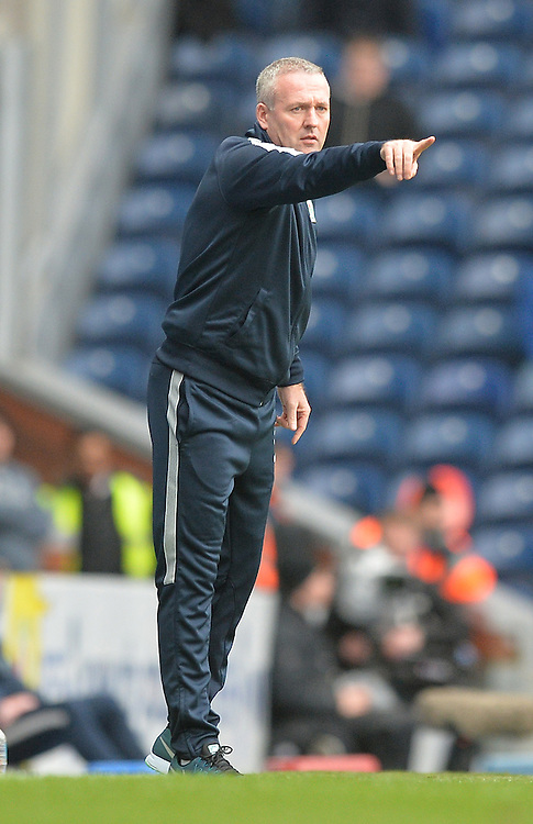 Blackburn Rovers's Manager Paul Lambert shouts instructions to his team from the dug-out<br /> <br /> Photographer Dave Howarth/CameraSport<br /> <br /> Football - The FA Cup Fifth Round - Blackburn Rovers v West Ham United - Sunday 21st February 2016 - Ewood Park - Blackburn<br /> <br /> © CameraSport - 43 Linden Ave. Countesthorpe. Leicester. England. LE8 5PG - Tel: +44 (0) 116 277 4147 - admin@camerasport.com - www.camerasport.com
