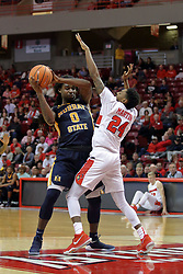 09 December 2017:  Terrell Miller Jr. works the top of the lane defended by Jerron Martin during a College mens basketball game between the Murray State Racers and Illinois State Redbirds in  Redbird Arena, Normal IL