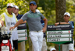 Gary Woodland watches a drive by Jim Herman from the 15th tee box during first round action of the PGA Championship at Quail Hollow Club Thursday, Aug. 10, 2017 in Charlotte, N.C. (Photo by Jeff Siner/Charlotte Observer/TNS/Sipa USA)  *** Please Use Credit from Credit Field ***