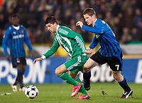 Fotball<br /> Frankrike<br /> Foto: DPPI/Digitalsport<br /> NORWAY ONLY<br /> <br /> FOOTBALL - UEFA CUP 2008/2009 - GROUP STAGE - GROUP G - 27/11/2008 - FC BRÜGGE v  AS SAINT ETIENNE<br /> <br /> KEVIN MIRALLAS (ASSE) / KOEN DAERDEN (BRU)