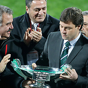 Bursaspor's coach Ertugrul SAGLAM (R) during their Turkish soccer super league match Bursaspor between Ankaragucu at Ataturk Stadium in Bursa Turkey on Monday, 21 March 2011. Photo by TURKPIX