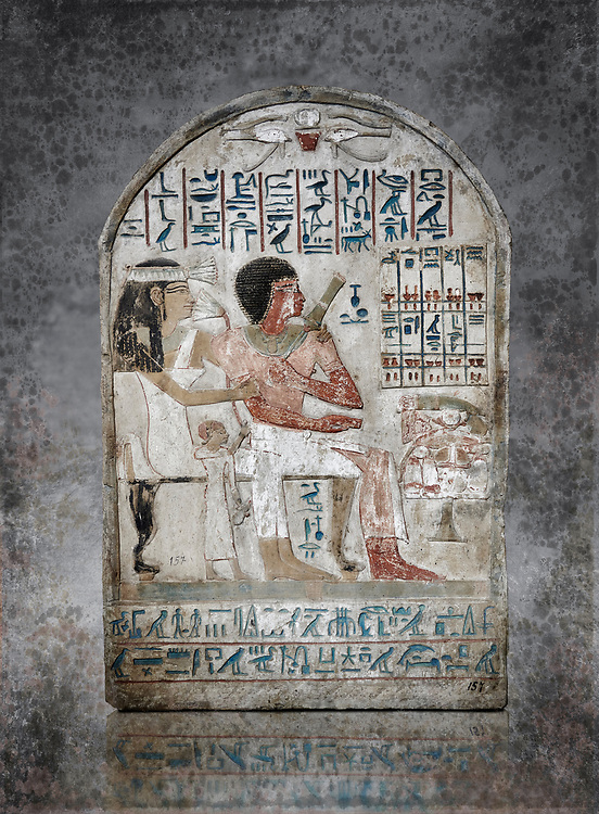 Ancient Egyptian stele of Djehutynefer called Seshu, Scribe, limestone, New Kingdom, 18th Dynasty, (1500-14253 BC), Thebes, Old Fund cat 1638. Egyptian Museum, Turin. white background,<br /> <br /> Djehutynefer called Seshu was the accountant scribe of cattle and fowl in the temple of Amon, and his wife the house mistress Benbu .<br /> <br /> Visit our HISTORIC WALL ART PRINT COLLECTIONS for more photo prints https://funkystock.photoshelter.com/gallery-collection/Historic-Antiquities-Photo-Wall-Art-Prints-by-Photographer-Paul-E-Williams/C00002uapXzaCx7Y<br /> <br /> Visit our Museum ART & ANTIQUITIES COLLECTIONS to browse more photo at: https://funkystock.photoshelter.com/p/museum-antiquities