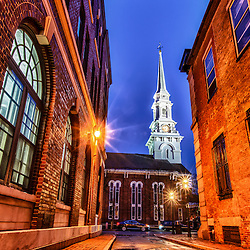 The North Church as seen from an alley in Market Square in Portsmouth, New Hampshire. HDR.