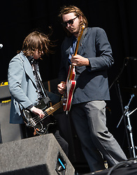 "© Licensed to London News Pictures. 28/08/2015. Reading Festival, UK. Palma Violets performing at Reading Festival on Day 1 of the festival.  In this picture - Alexander ""Chilli"" Jesson (left) ,Samuel Thomas Fryer, (right) Photo credit: Richard Isaac/LNP"