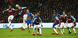 January 16, 2018 - London, England, United Kingdom - L-R West Ham United's Andre Ayew, West Ham United's Tony Martinez, West Ham United's Pedro Mba Obiang, West Ham United's Reece Oxford, West Ham United's Reece Burke, West Ham United's Andre Ayew and West Ham United's Angelo Ogbonna.during FA Cup 3rd Round reply match between West Ham United against Shrewsbury Town at The London Stadium, Queen Elizabeth II Olympic Park, London, Britain - 16 Jan  2018  (Credit Image: © Kieran Galvin/NurPhoto via ZUMA Press)