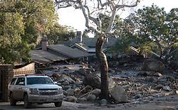 January 10, 2018 - Montecito, California, U.S. - A home on Glen Oaks Road stands destroyed by mudslides in Montecito. (Credit Image: © Santa Barbara News-Press via ZUMA Wire)