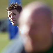 Brian O'Driscoll (left) and Paul O'Connell training with the Irish team at The Queenstown Events Centre in preparation for the IRB Rugby World Cup. Queenstown, New Zealand, 7th September 2011. Photo Tim Clayton...