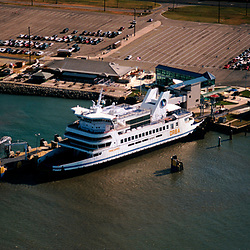 Aerial photogrph of the Cape May Lewes Ferry in port in Lewes Delaware, 1998