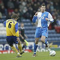 Photo Aidan Ellis.<br /> Blackburn Rovers v Southampton.<br /> Ewood Park.<br /> FA Barclays Premiership.<br /> 09/04/2005.<br /> Blackburn's Brett Emerton and Southampton's Andreas Jakobsson