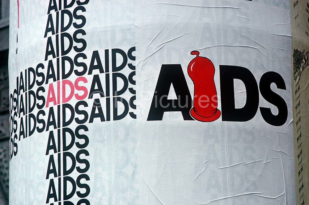 A 1990s poster for the AIDS virus, on 13th June 1990, in Budapest, Hungary.
